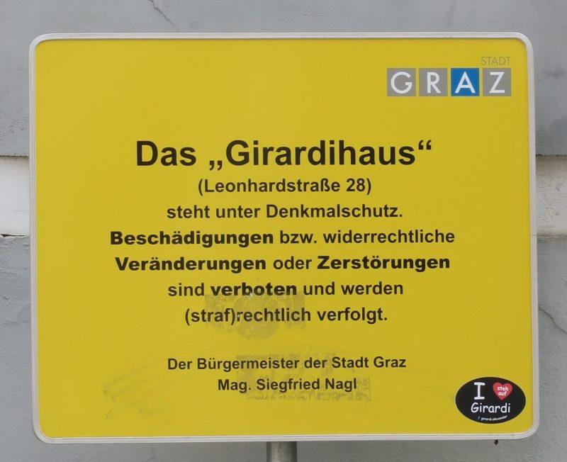 Girardihaus, Tafel des Bürgermeisters