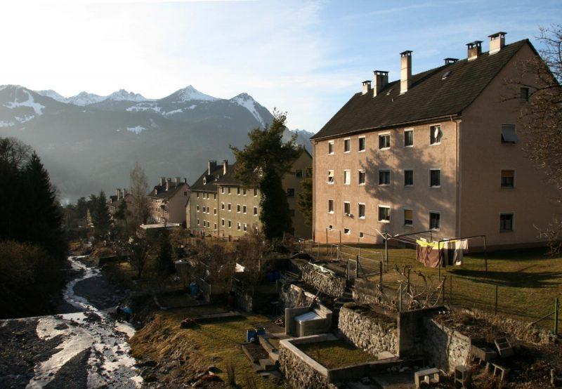 Die Südtiroler Siedlung neben dem Galgentobelbach in Bludenz